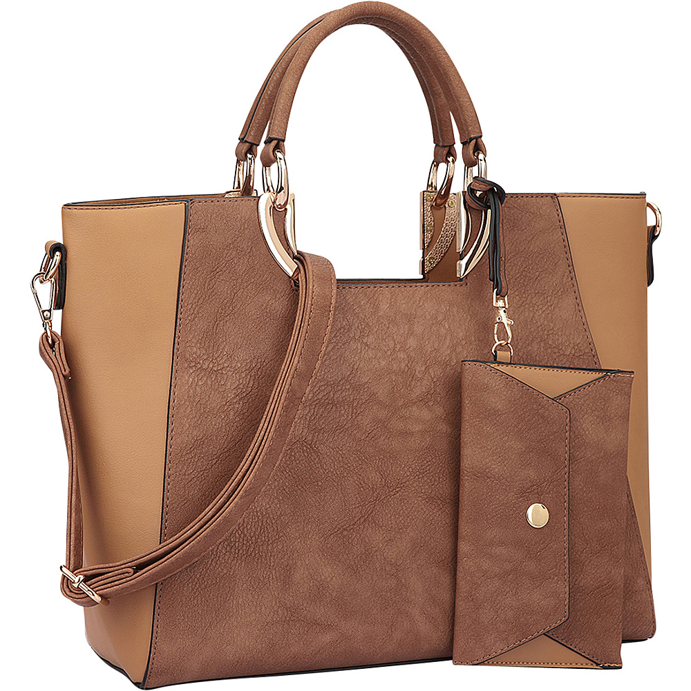Dasein Square Handle Faux Leather Tote with Removable Shoulder Strap Brown/Tan - Dasein Manmade Handbags - Handbags, Manmade Handbags