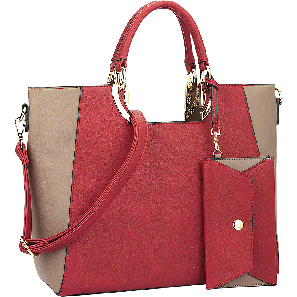 Dasein Square Handle Faux Leather Tote with Removable Shoulder Strap Red/Taupe - Dasein Manmade Handbags - Handbags, Manmade Handbags