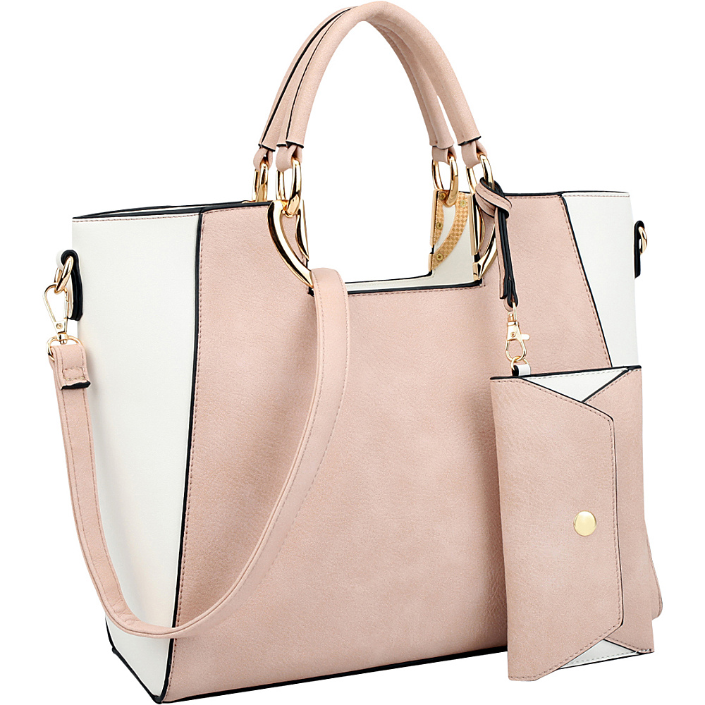 Dasein Square Handle Faux Leather Tote with Removable Shoulder Strap Pink/White - Dasein Manmade Handbags - Handbags, Manmade Handbags