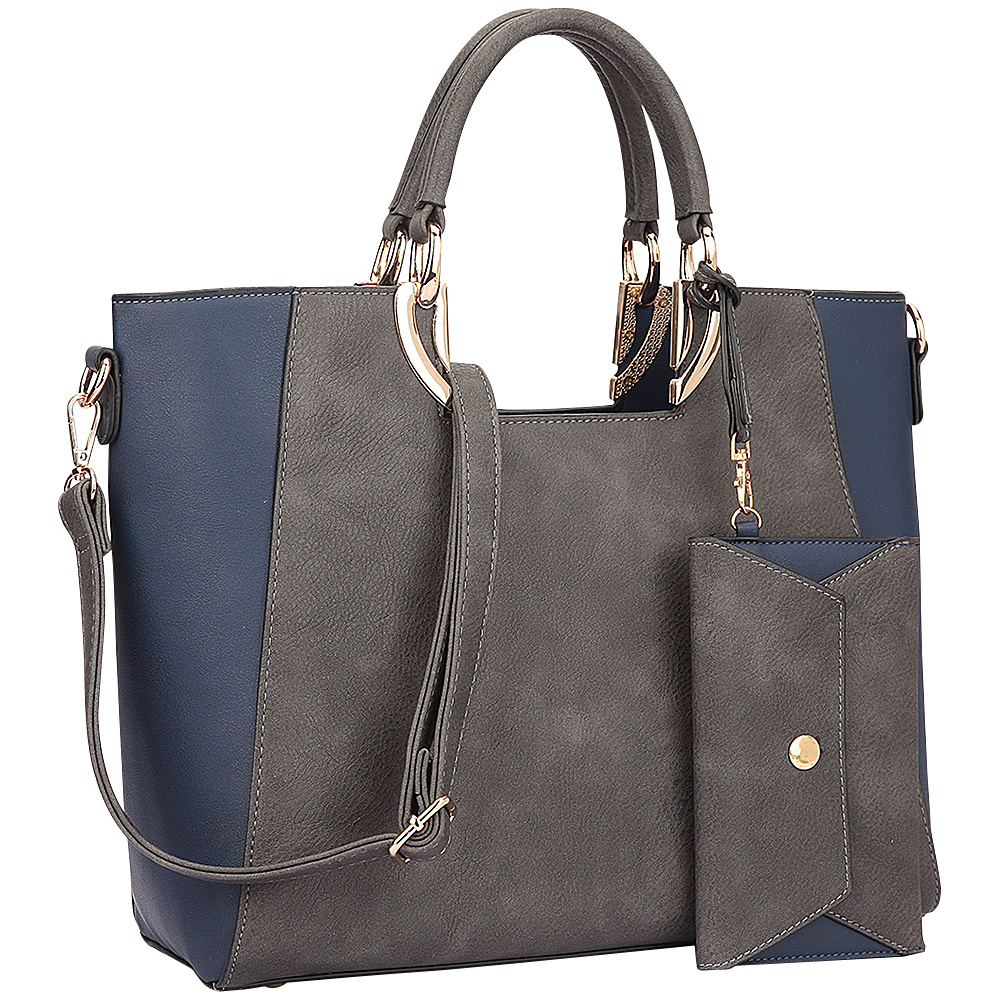 Dasein Square Handle Faux Leather Tote with Removable Shoulder Strap Grey/Navy blue - Dasein Manmade Handbags - Handbags, Manmade Handbags