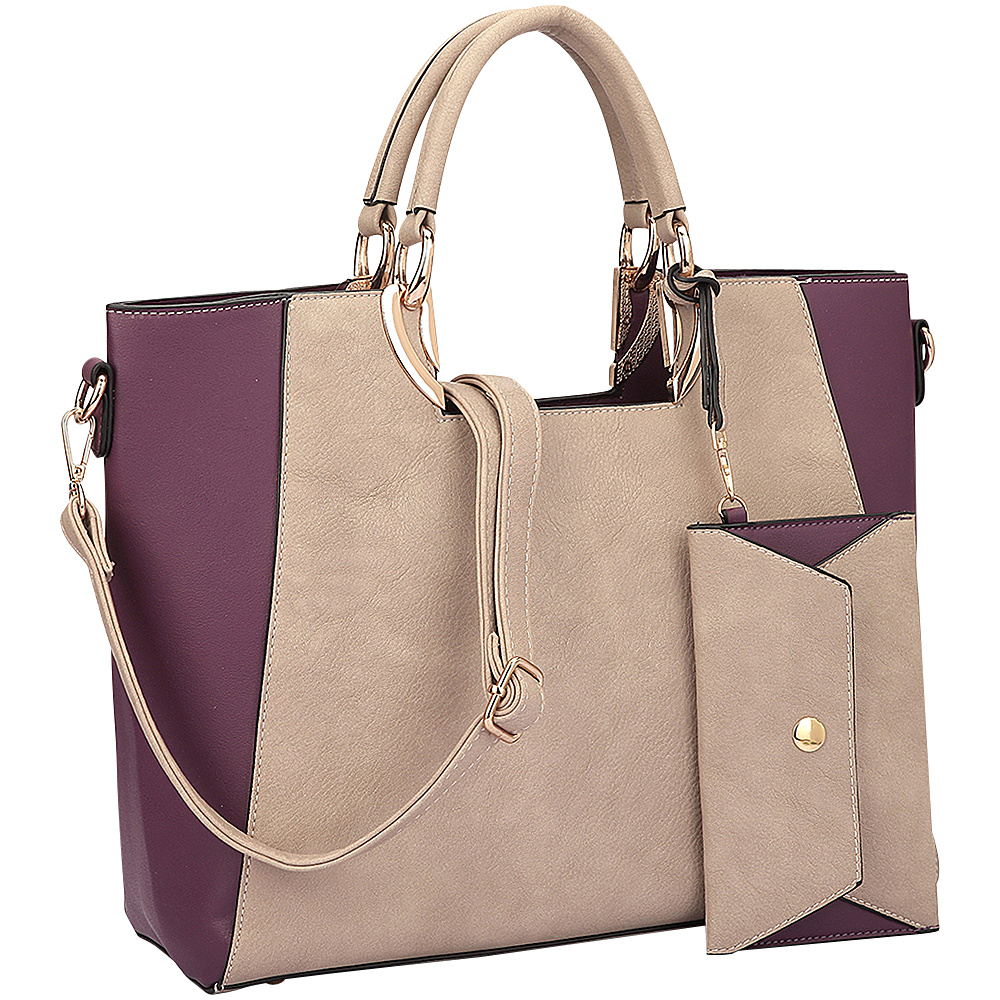 Dasein Square Handle Faux Leather Tote with Removable Shoulder Strap Stone/Purple - Dasein Manmade Handbags - Handbags, Manmade Handbags
