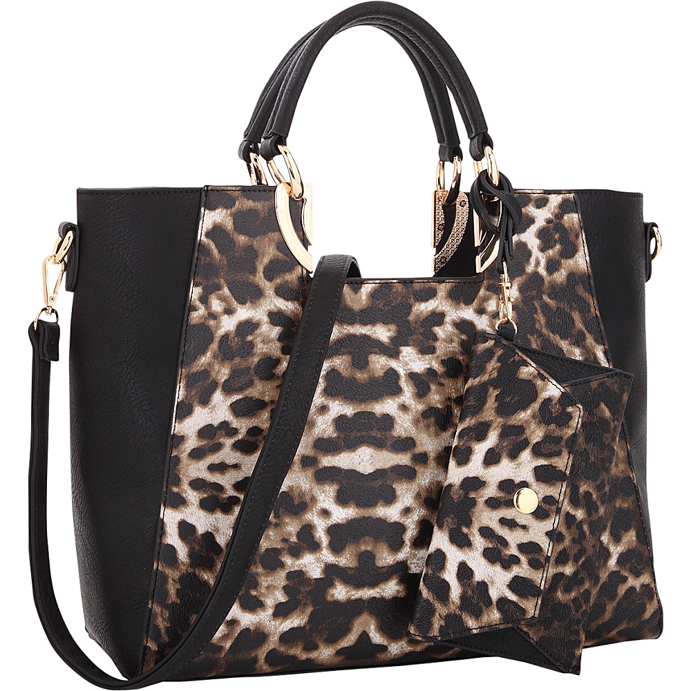 Dasein Square Handle Faux Leather Tote with Removable Shoulder Strap Leopard - Dasein Manmade Handbags - Handbags, Manmade Handbags