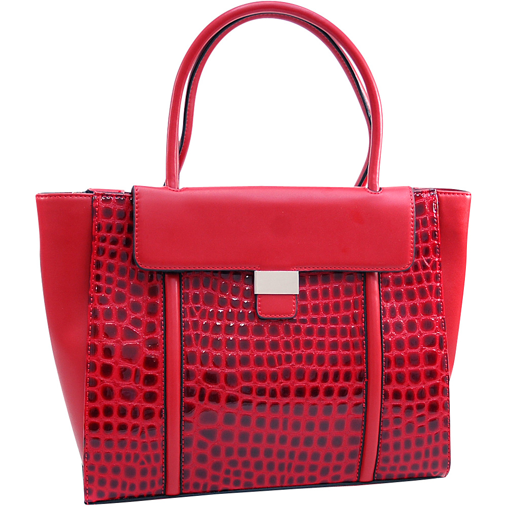 Dasein Large Patent Croco Chic Fashion Tote with Buckle Decor Red - Dasein Manmade Handbags - Handbags, Manmade Handbags
