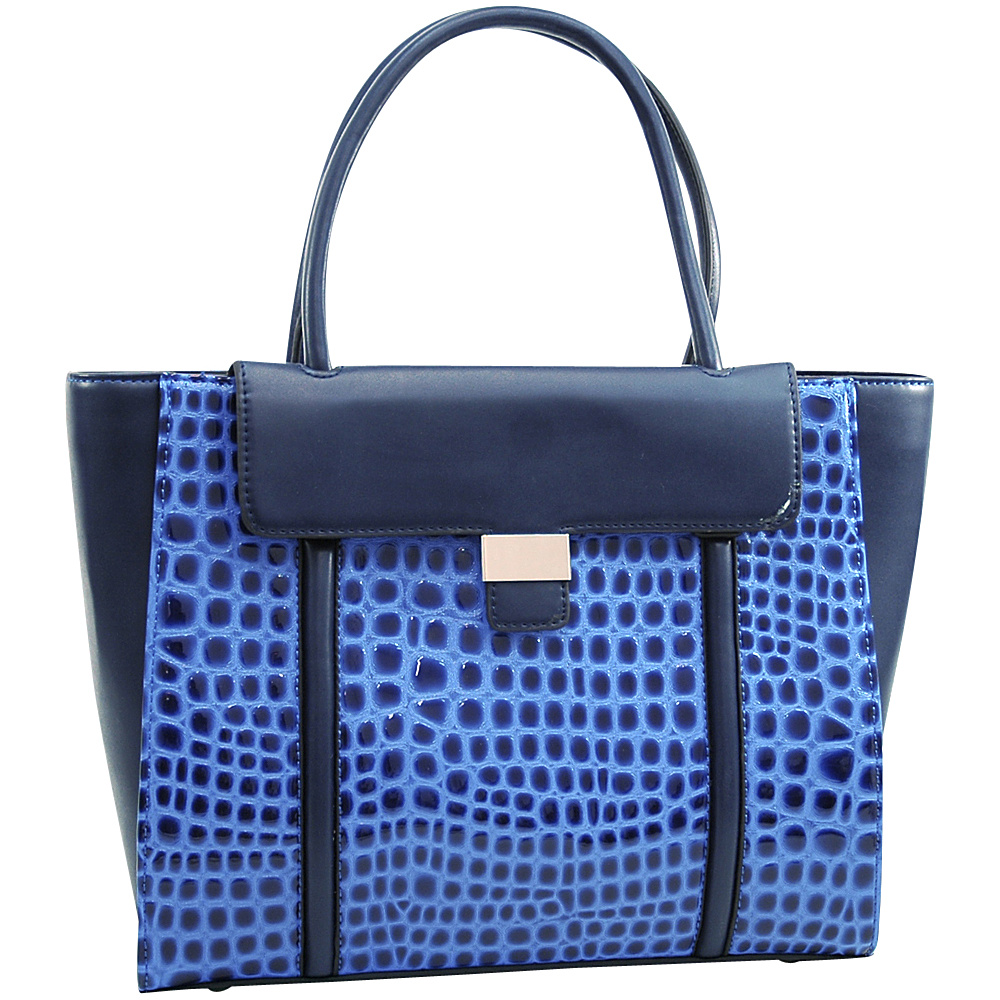 Dasein Large Patent Croco Chic Fashion Tote with Buckle Decor Blue - Dasein Manmade Handbags - Handbags, Manmade Handbags