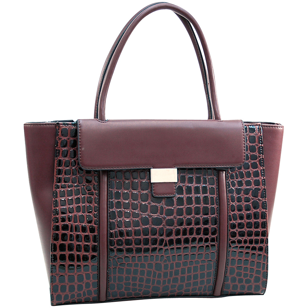 Dasein Large Patent Croco Chic Fashion Tote with Buckle Decor Coffee - Dasein Manmade Handbags - Handbags, Manmade Handbags