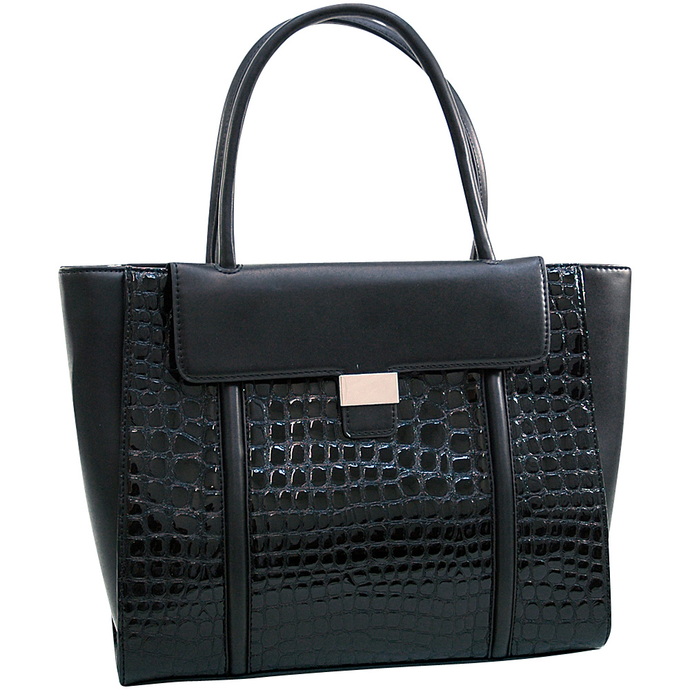 Dasein Large Patent Croco Chic Fashion Tote with Buckle Decor Black - Dasein Manmade Handbags - Handbags, Manmade Handbags
