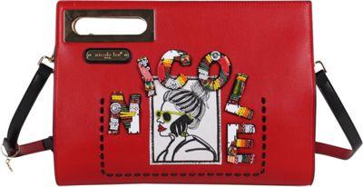 Nicole Lee Jezebel Beaded-Patch Envelope Crossbody Red - Nicole Lee Leather Handbags