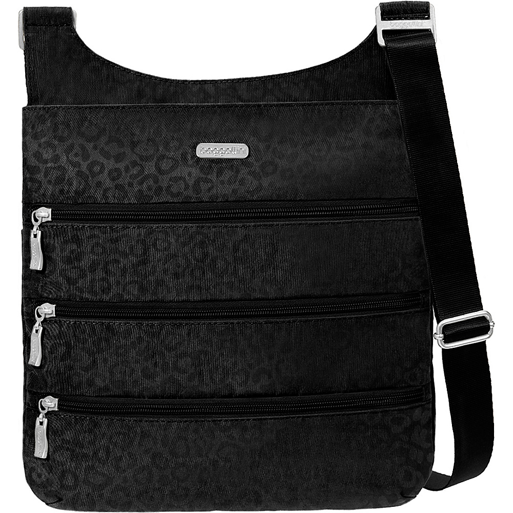 baggallini Big Zipper Bagg with RFID - Retired Colors Black Cheetah Emboss - baggallini Fabric Handbags
