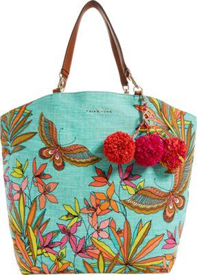 Trina Turk Sunkissed Papillion Palm Tote Turquoise - Trina Turk Designer Handbags