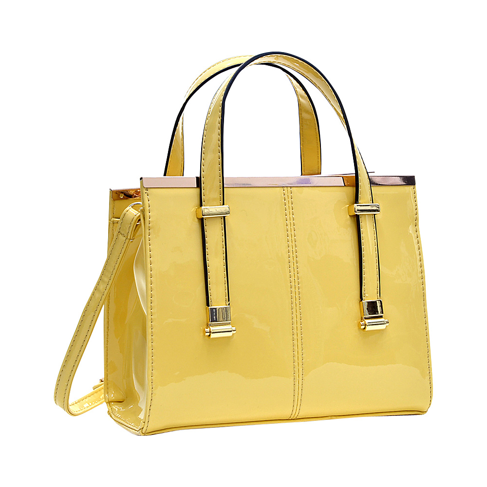 Dasein Gathered Top Tote Satchel Yellow - Dasein Manmade Handbags - Handbags, Manmade Handbags