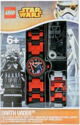 LEGO Watches Star Wars Darth Vader Kids Buildable Watch with Link Bracelet and Minifigure Black/Red - LEGO Watches Watches