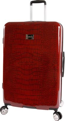 BEBE Taylor 29 inch Hardside Spinner Checked Luggage Burgundy Croc - BEBE Hardside Checked