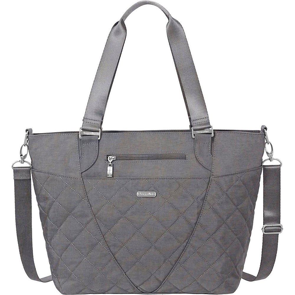 baggallini Quilted Avenue Tote with RFID Pewter Quilt - baggallini Fabric Handbags - Handbags, Fabric Handbags