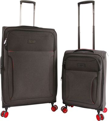 Original Penguin Luggage Platt 2 Piece Expandable Spinner Luggage Set Black Crosshatch/Red - Original Penguin Luggage Luggage Sets