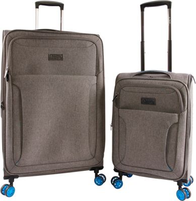 Original Penguin Luggage Platt 2 Piece Expandable Spinner Luggage Set Grey Crosshatch/Blue - Original Penguin Luggage Luggage Sets