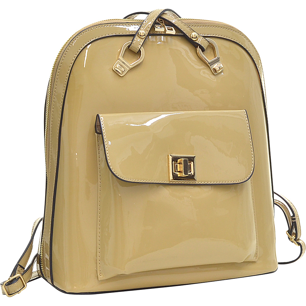 Dasein Sleek Patent Zip-Around Backpack with Front Pocket Beige - Dasein Manmade Handbags - Handbags, Manmade Handbags
