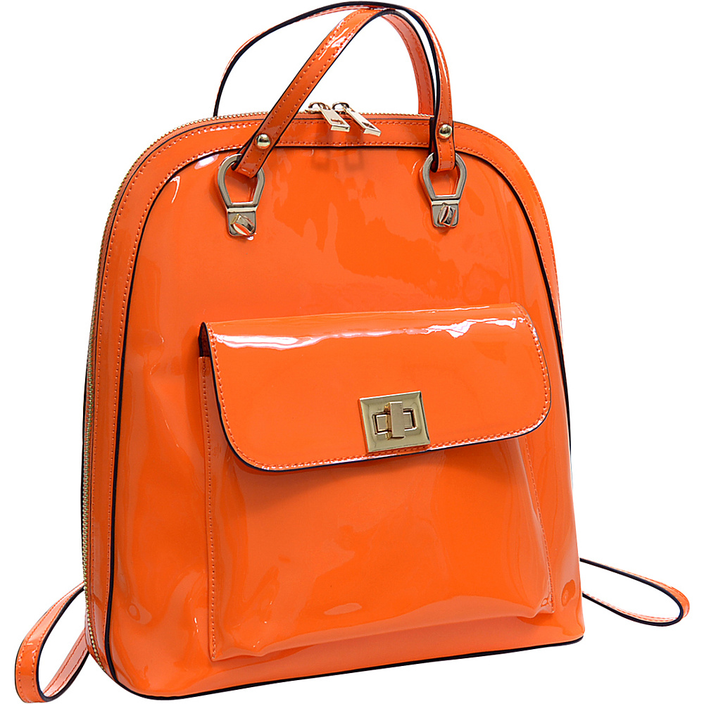 Dasein Sleek Patent Zip-Around Backpack with Front Pocket Orange - Dasein Manmade Handbags - Handbags, Manmade Handbags