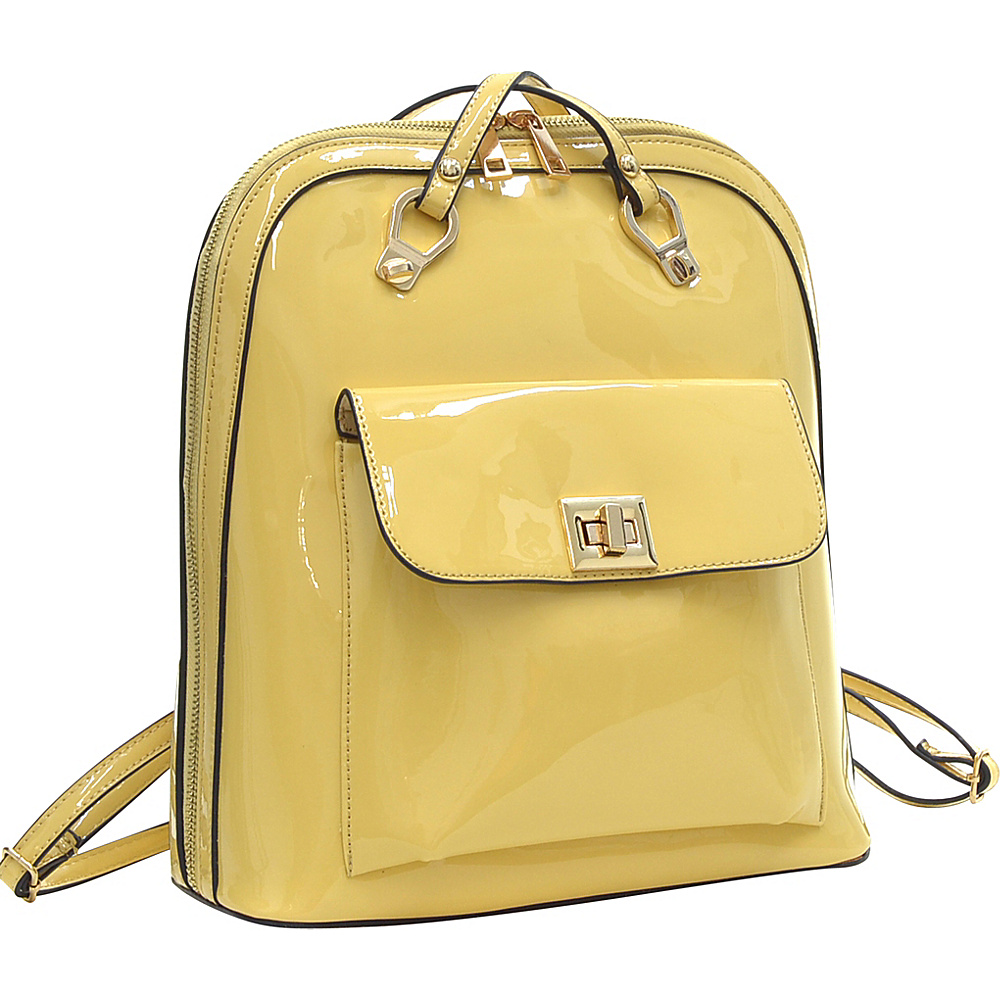 Dasein Sleek Patent Zip-Around Backpack with Front Pocket Yellow - Dasein Manmade Handbags - Handbags, Manmade Handbags