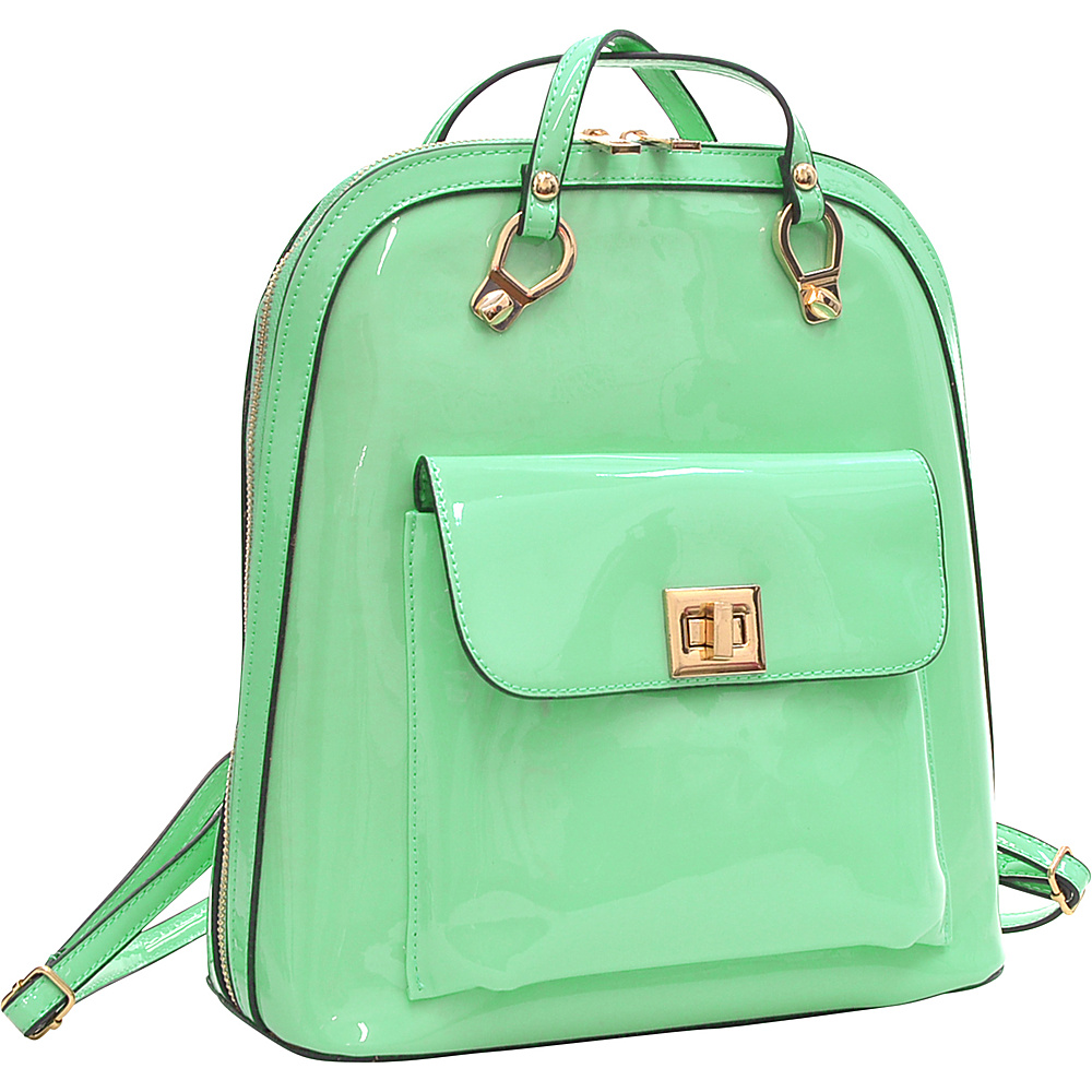 Dasein Sleek Patent Zip-Around Backpack with Front Pocket Mint Green - Dasein Manmade Handbags - Handbags, Manmade Handbags