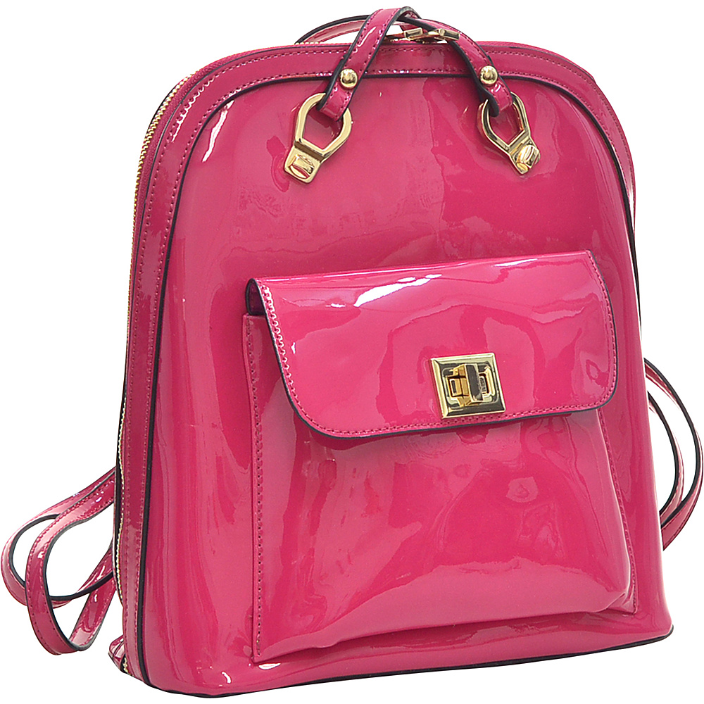 Dasein Sleek Patent Zip-Around Backpack with Front Pocket Fuchsia - Dasein Manmade Handbags - Handbags, Manmade Handbags