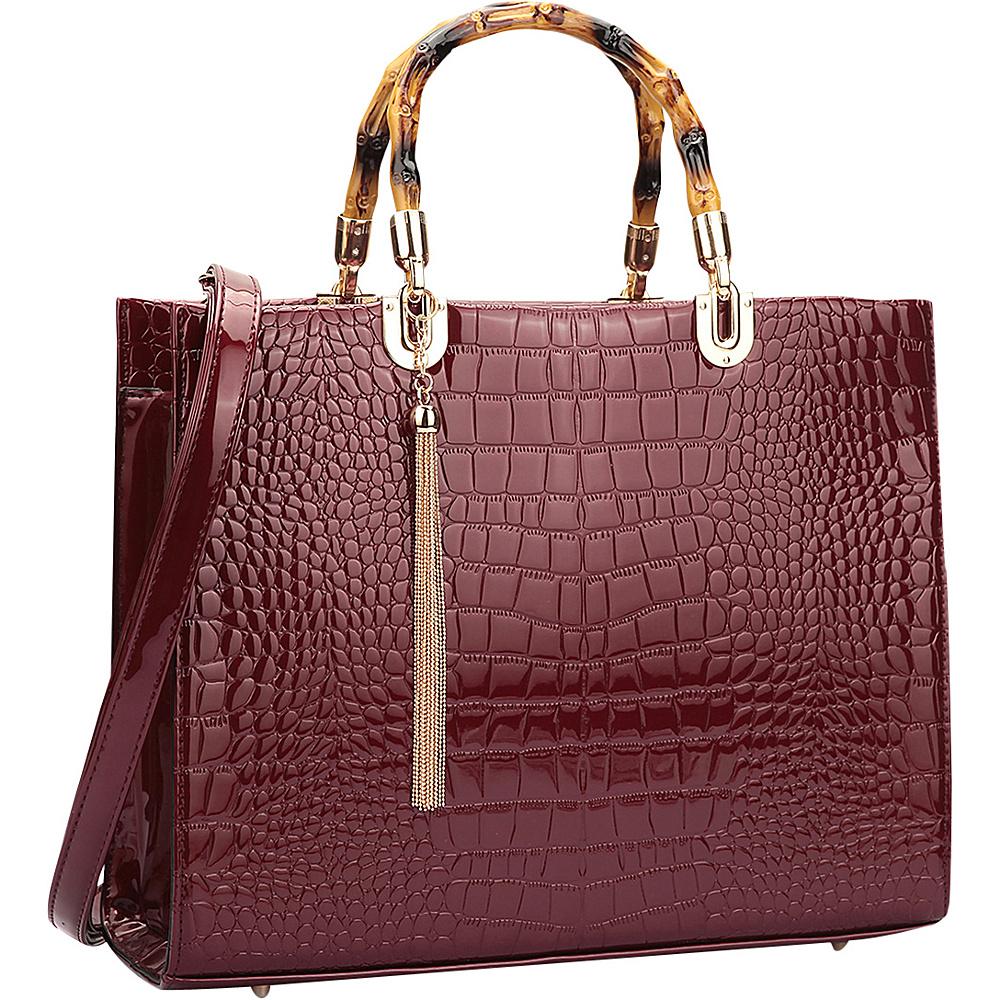 Dasein Wooden Handle Croco Satchel Burgundy - Dasein Manmade Handbags - Handbags, Manmade Handbags