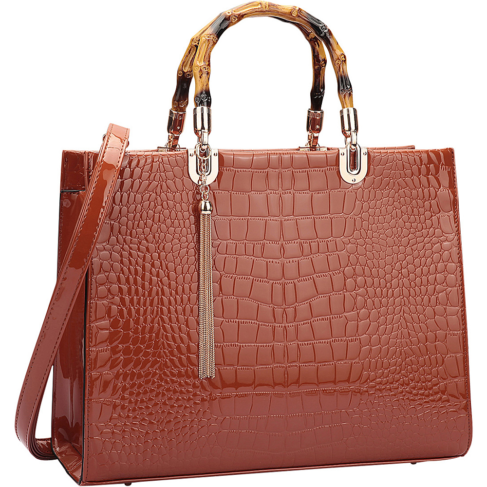 Dasein Wooden Handle Croco Satchel Brown - Dasein Manmade Handbags - Handbags, Manmade Handbags
