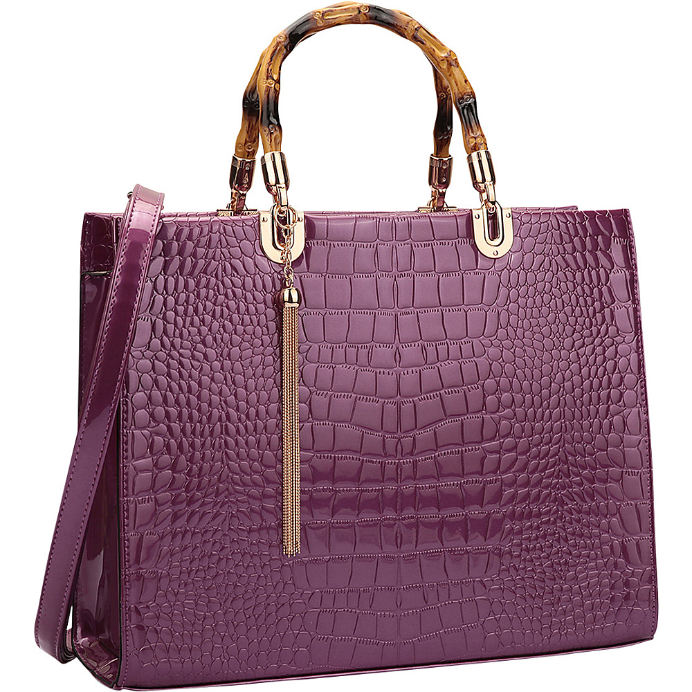 Dasein Wooden Handle Croco Satchel Purple - Dasein Manmade Handbags - Handbags, Manmade Handbags