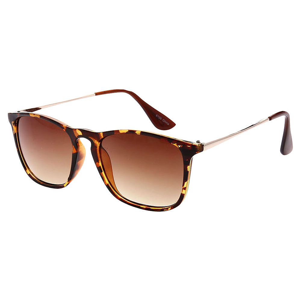 SW Global Dual Tone Retro Square Frame UV400 Sunglasses Leopard Amber - SW Global Eyewear - Fashion Accessories, Eyewear