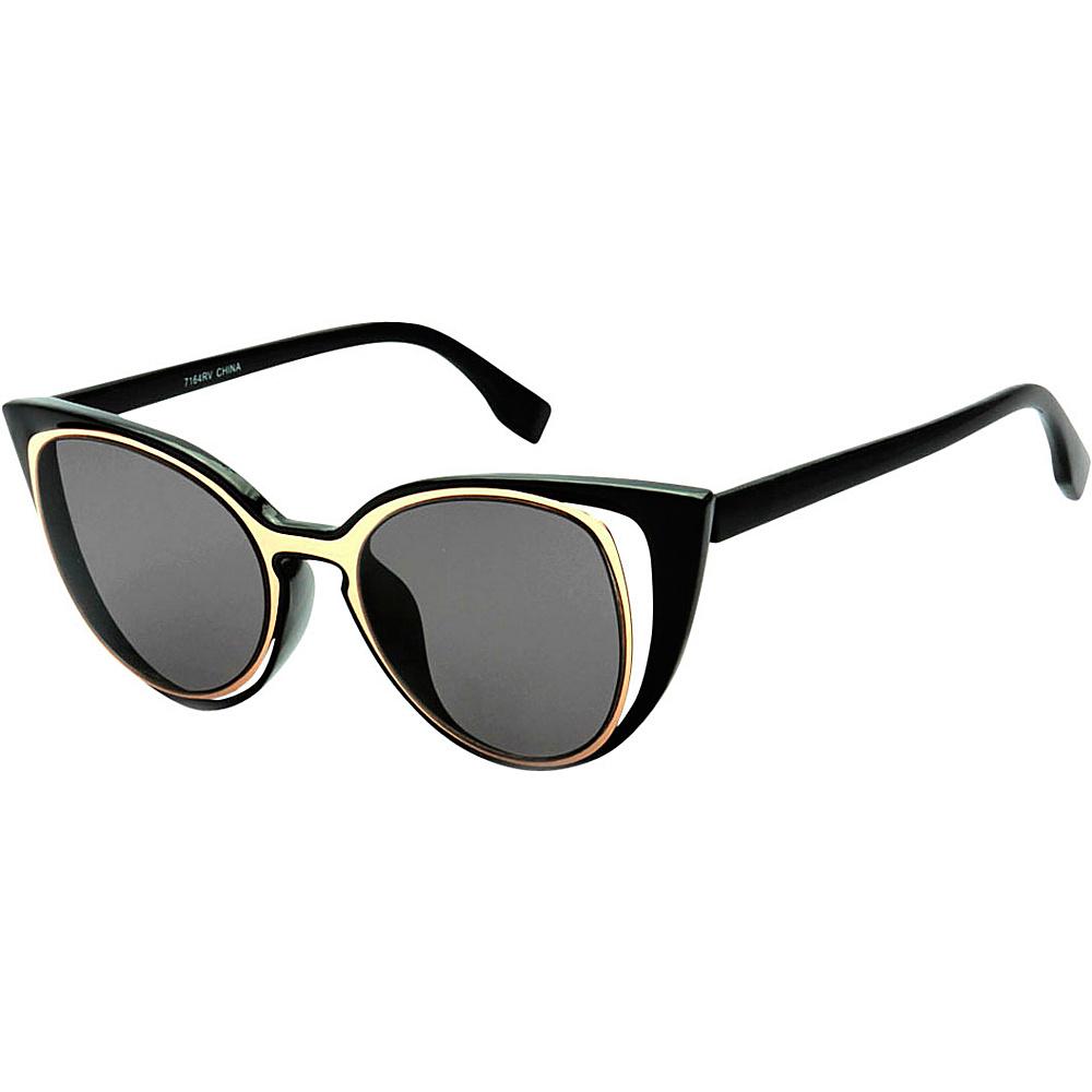 SW Global Womens Urban Fashion Double Frame Catty Cateye Sunglasses Gold - SW Global Eyewear - Fashion Accessories, Eyewear