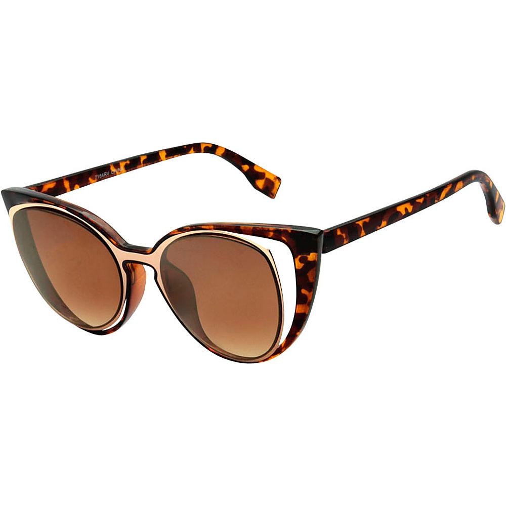 SW Global Womens Urban Fashion Double Frame Catty Cateye Sunglasses Brown - SW Global Eyewear - Fashion Accessories, Eyewear