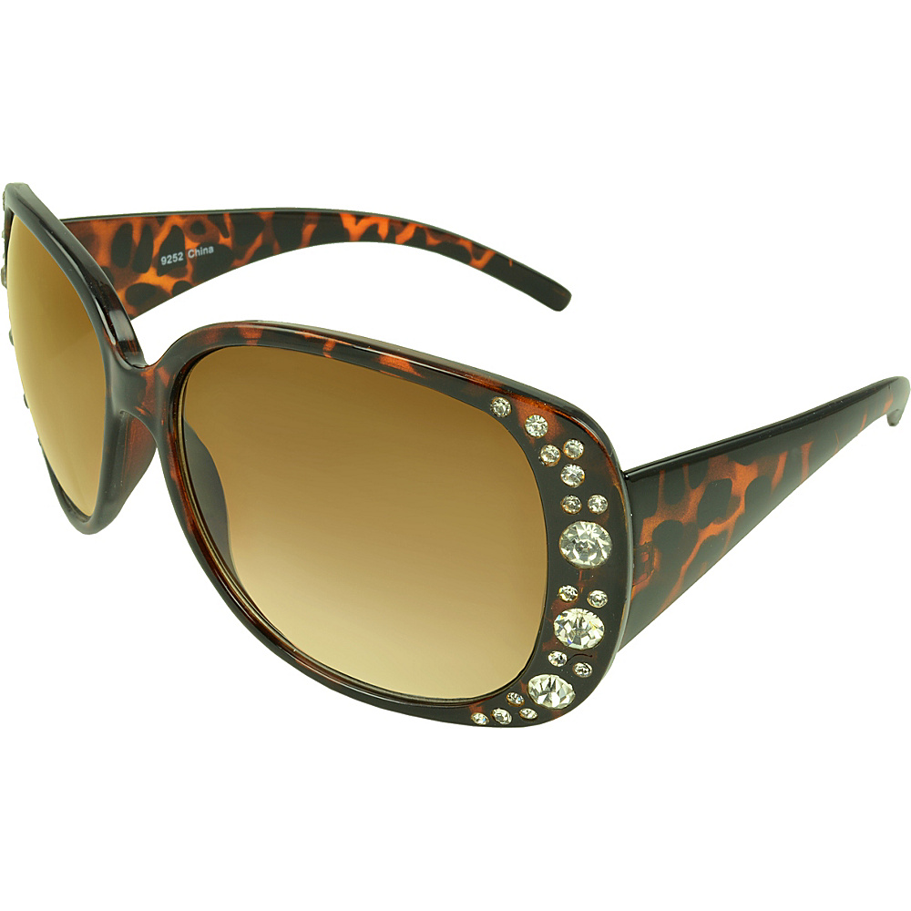SW Global Rhinestone Shield Fashion Sunglasses Leopard - SW Global Eyewear - Fashion Accessories, Eyewear