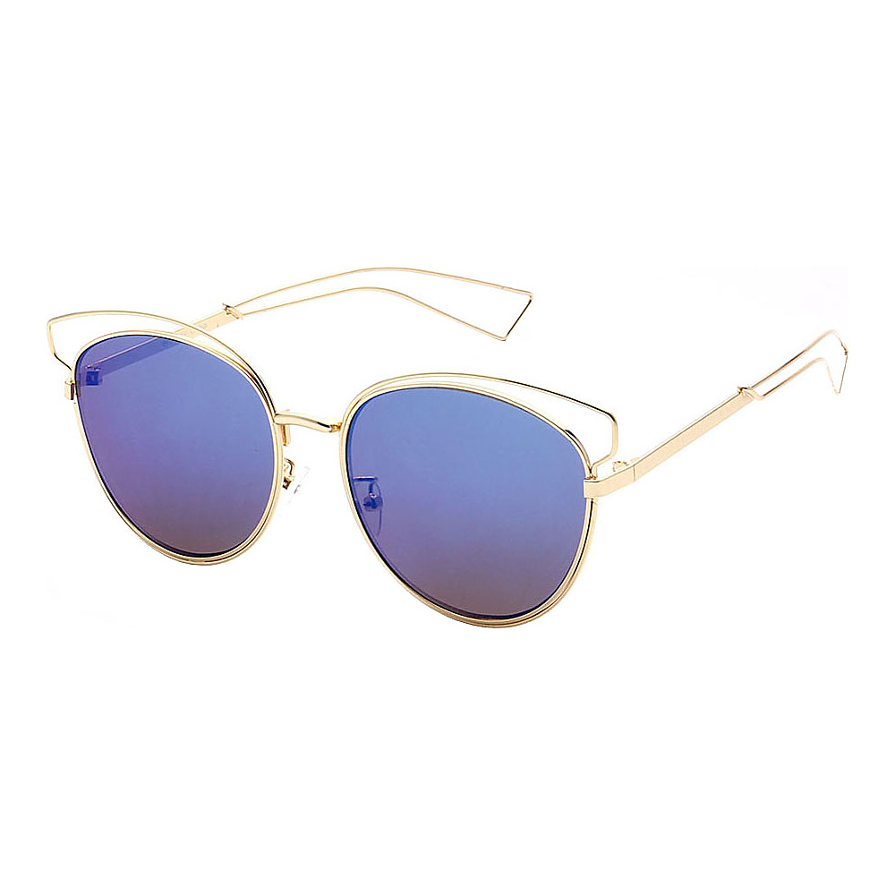 SW Global Womens Cute Fun Cateye UV400 Sunglasses Gold Blue - SW Global Eyewear - Fashion Accessories, Eyewear