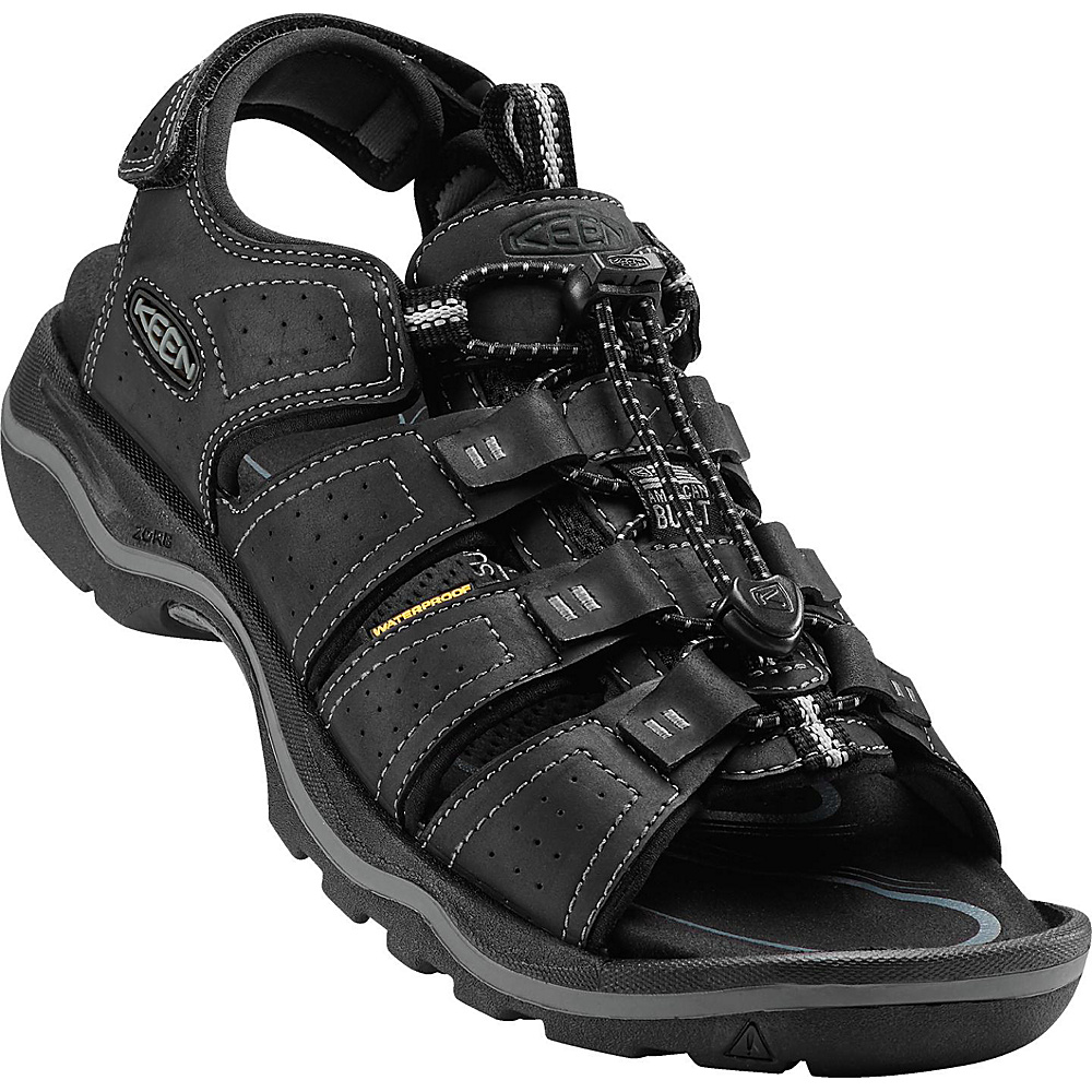 KEEN Mens Rialto Open Toe Sandal 11 - Black/Neutral Gray - KEEN Mens Footwear - Apparel & Footwear, Men's Footwear