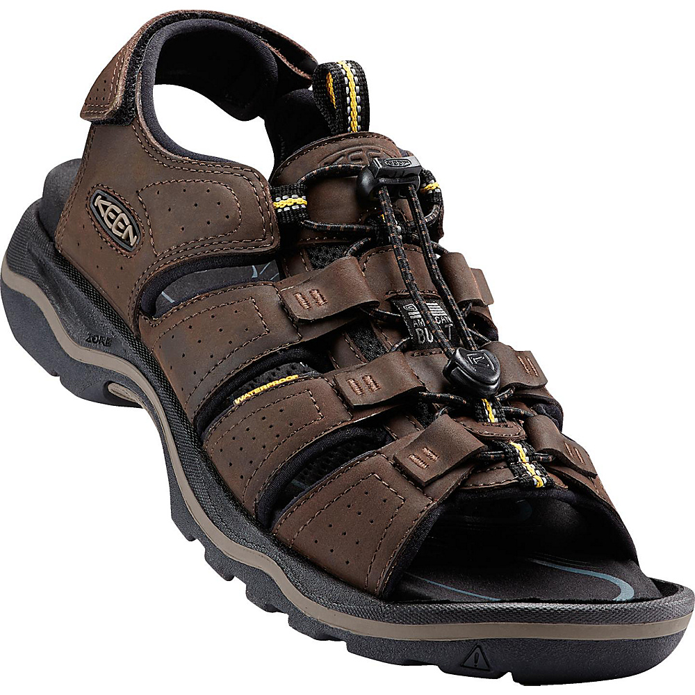 KEEN Mens Rialto Open Toe Sandal 10.5 - Dark Earth/Black - KEEN Mens Footwear - Apparel & Footwear, Men's Footwear
