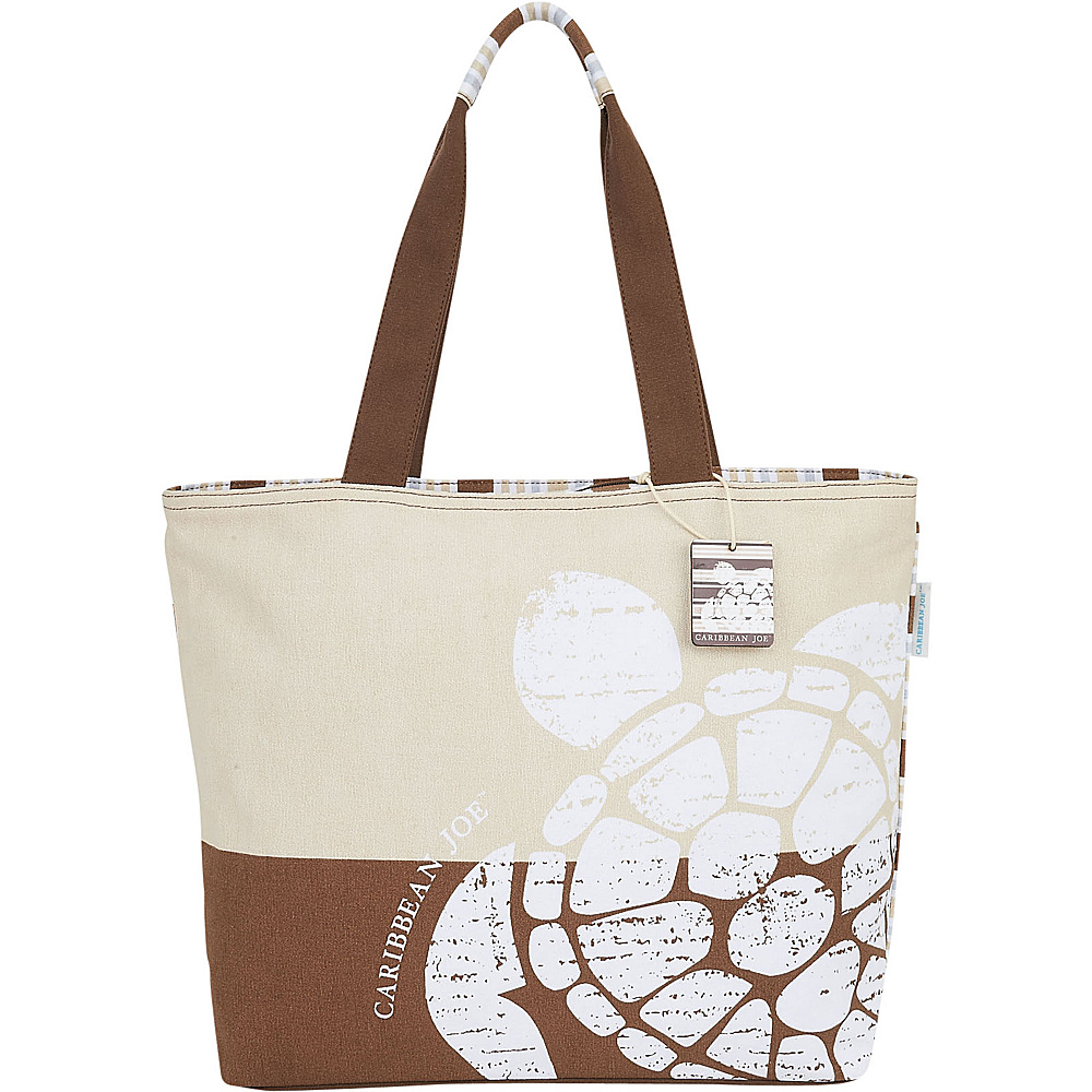 Sun N Sand Tropical Icons Shoulder Tote Brown Fabric