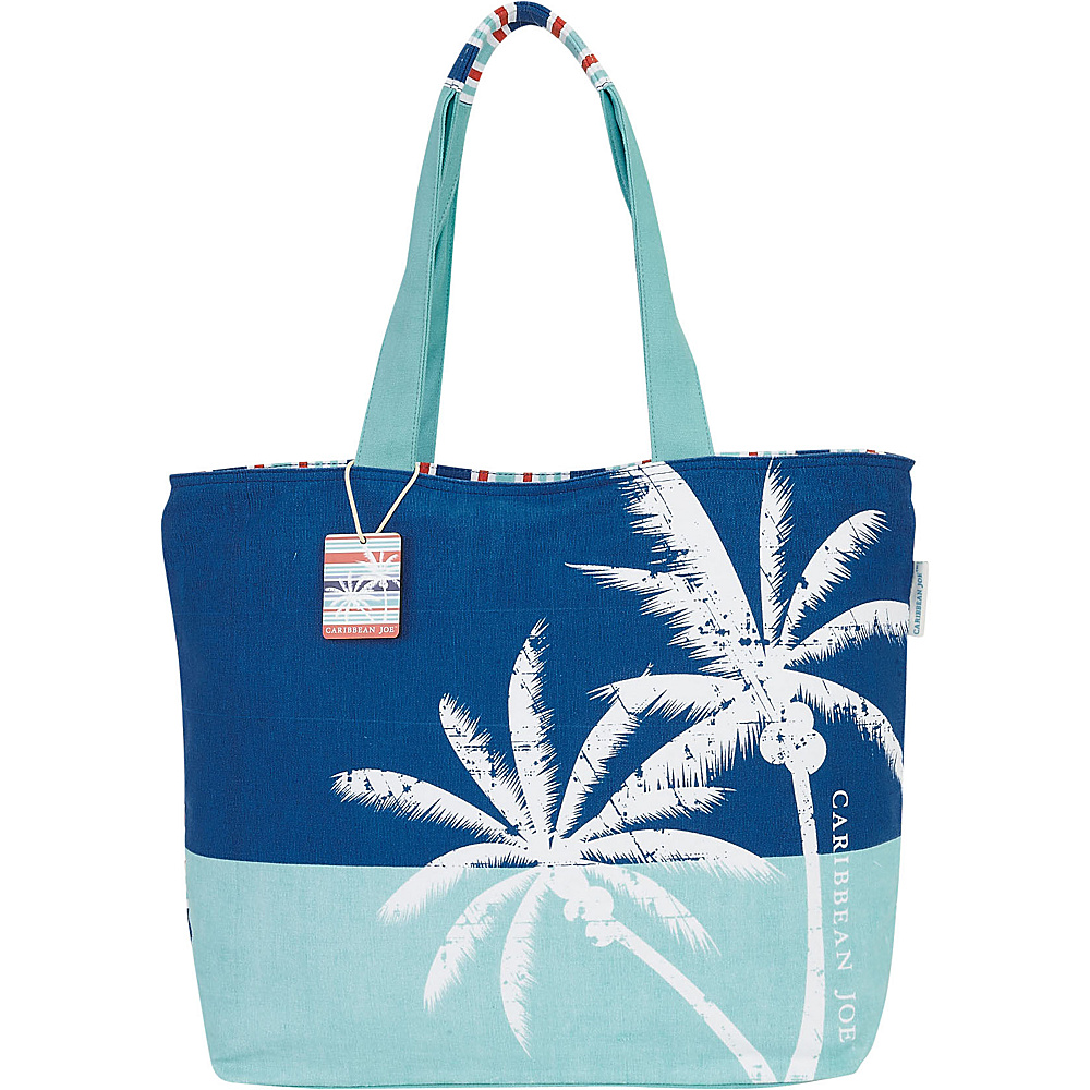 Sun N Sand Tropical Icons Shoulder Tote Blue Multi - Sun N Sand Fabric Handbags - Handbags, Fabric Handbags
