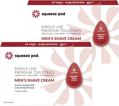 Squeeze Pod Single Use Natural Men's Shave Cream - 30 Single Use Pods Red - Squeeze Pod Travel Comfort and Health