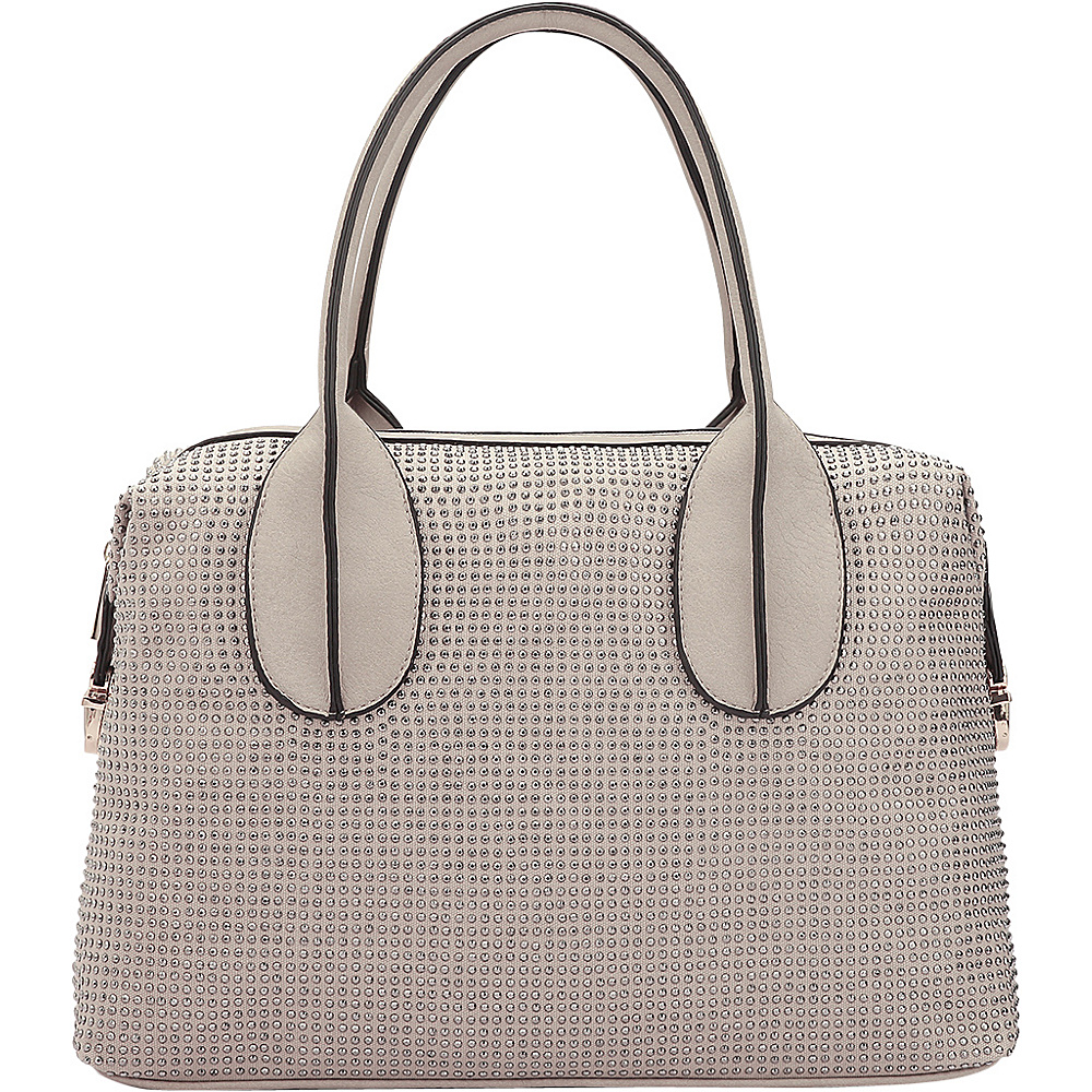 Dasein Rhinestone Studded Zip-Around Shoulder Bag Beige - Dasein Manmade Handbags - Handbags, Manmade Handbags