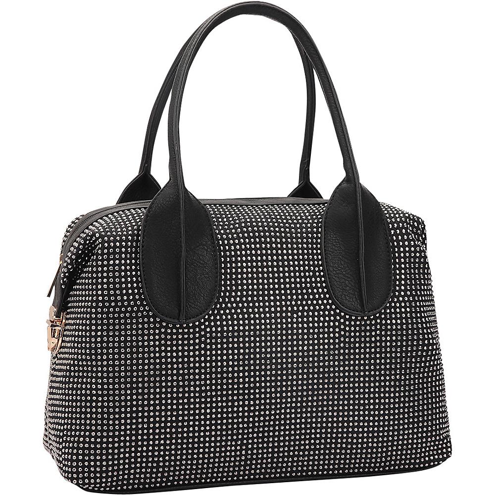 Dasein Rhinestone Studded Zip-Around Shoulder Bag Black - Dasein Manmade Handbags - Handbags, Manmade Handbags