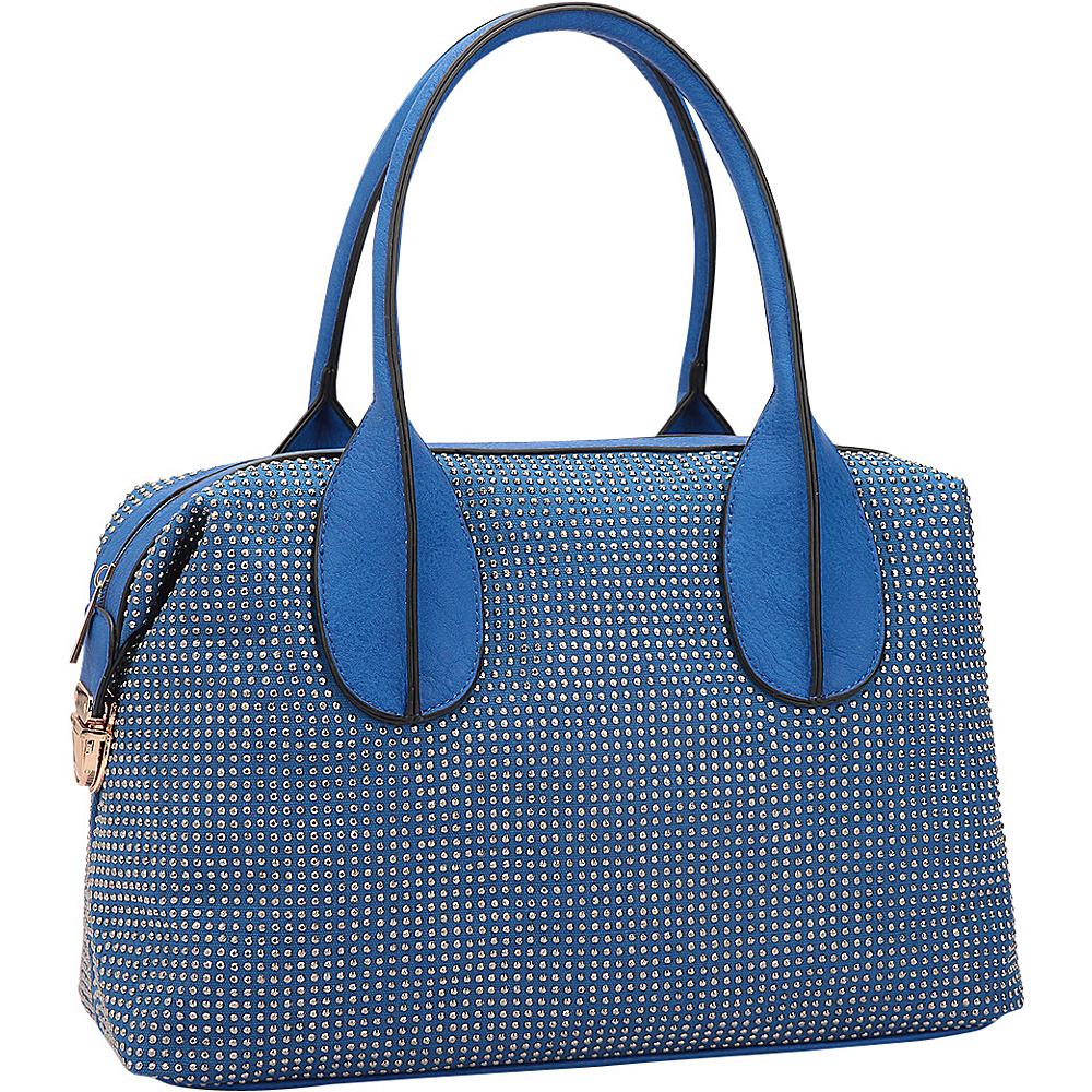 Dasein Rhinestone Studded Zip-Around Shoulder Bag Blue - Dasein Manmade Handbags - Handbags, Manmade Handbags