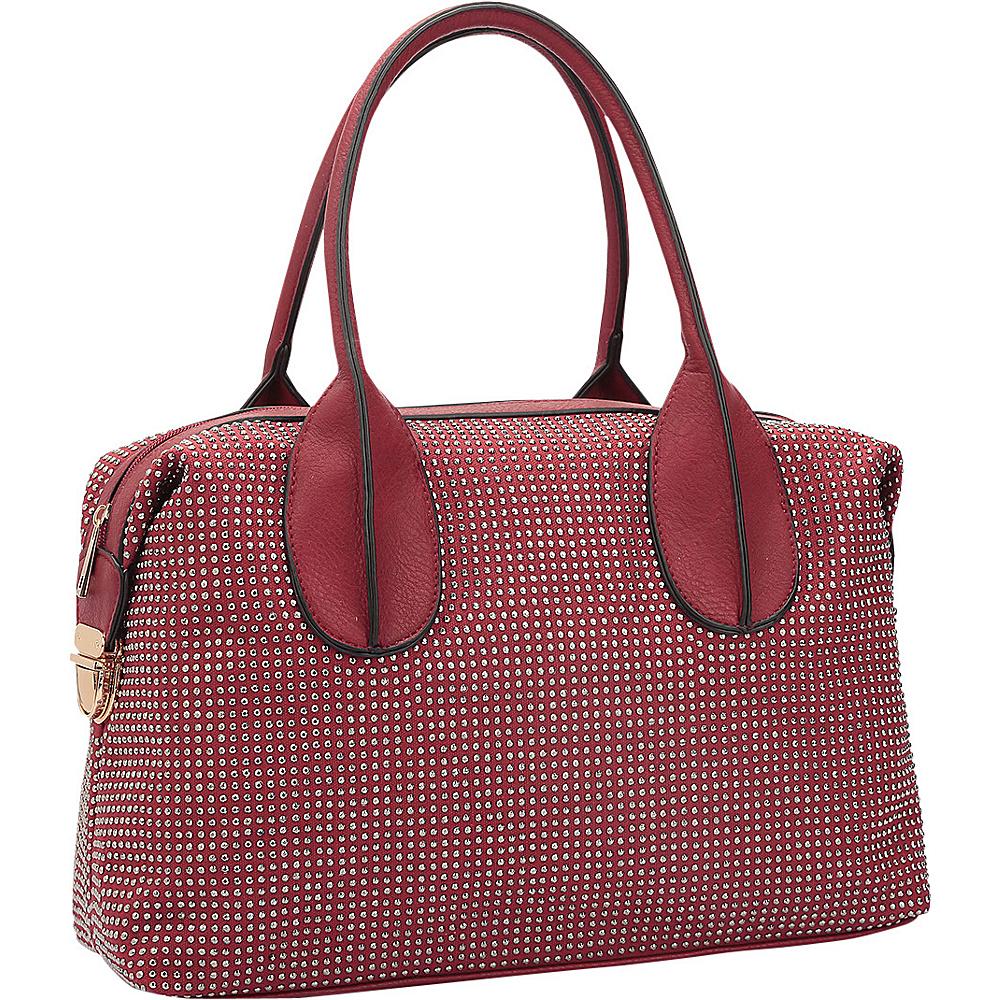 Dasein Rhinestone Studded Zip-Around Shoulder Bag Red - Dasein Manmade Handbags - Handbags, Manmade Handbags