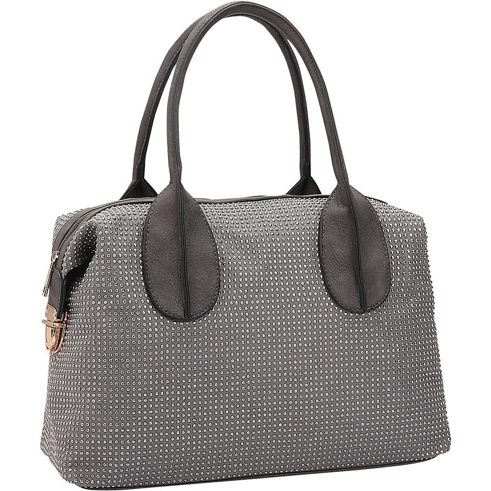 Dasein Rhinestone Studded Zip-Around Shoulder Bag Grey - Dasein Manmade Handbags - Handbags, Manmade Handbags