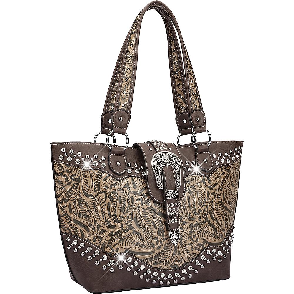 Dasein Western Style Rhinestone Buckle Camo Tote Black - Dasein Manmade Handbags - Handbags, Manmade Handbags