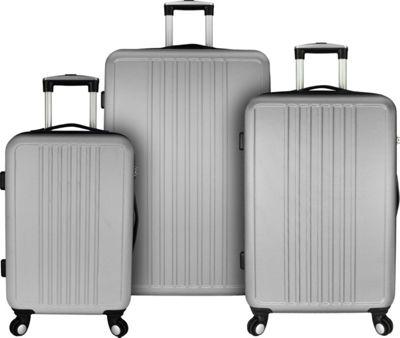 Elite Luggage Versatile 3 Piece Hardside Spinner Luggage Set Silver - Elite Luggage Luggage Sets