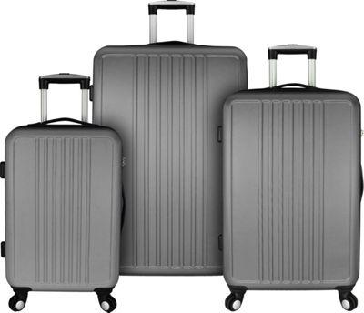 Elite Luggage Versatile 3 Piece Hardside Spinner Luggage Set Grey - Elite Luggage Luggage Sets