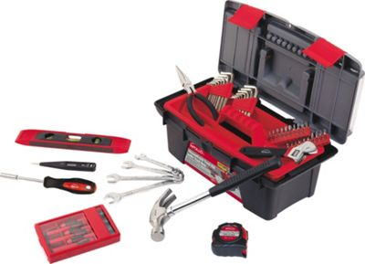 Apollo Tools 53 Piece Household Tool Kit with Tool Box Red - Apollo Tools Sports Accessories