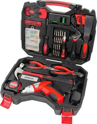 Apollo Tools 160 Piece Household Tool Kit with 4.8V Cordless Screwdriver Red - Apollo Tools Sports Accessories