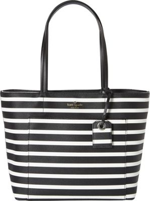 kate spade new york Hyde Lane Stripe Small Riley Tote Black/Off White - kate spade new york Designer Handbags
