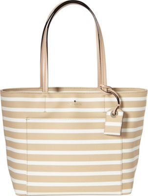 kate spade new york Hyde Lane Stripe Small Riley Tote Camel/Cream - kate spade new york Designer Handbags