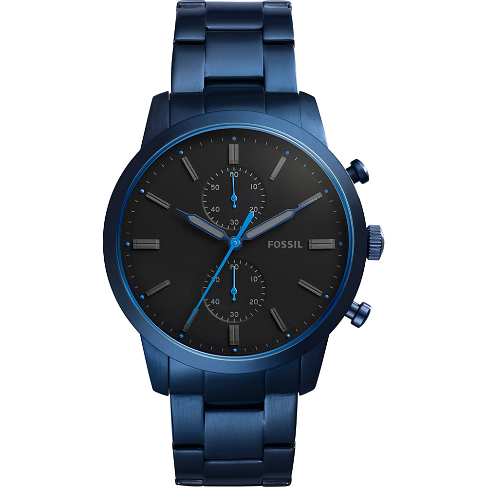 Fossil Townsman 44mm Chronograph Stainless Steel Watch Blue - Fossil Watches - Fashion Accessories, Watches